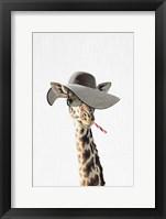 Framed Giraffe Dressed in a Hat