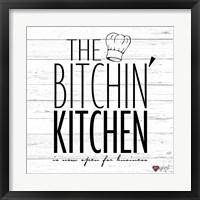 Framed Bitchin Kitchen - White Wood