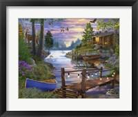 Framed Footbridge by the Lake