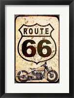 Framed Route 66 Sign With Indian Scout