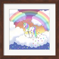 Framed Rainbow unicorn and falling stars