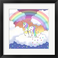 Framed Rainbow unicorn and falling stars