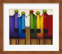 Framed Rainbow Dogs with Apples