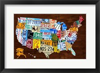 Framed United States of America License Plate Map 2018