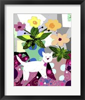 Framed White Kitty And Flowers