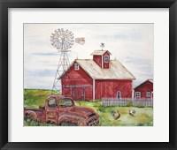 Framed Rural Red Barn A