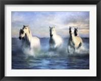 Framed Running Horses Crashing Waves