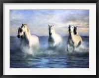 Framed Running Horses Crashing Waves