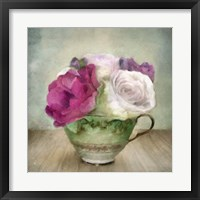 Framed Green Teacup and Roses Vintage Bouquet