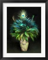 Framed Peacock Art Nouveau Bouquet