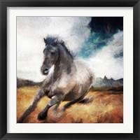 Framed Running Black Horse
