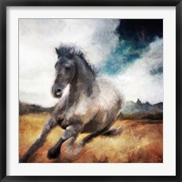 Framed Running Black Horse