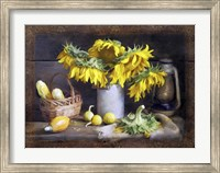 Framed Sunflowers Autumn Harvest Still Life