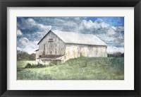 Framed Old White Barn and Blue Sky