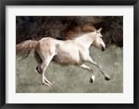 Framed Light Cream Horse In Motion