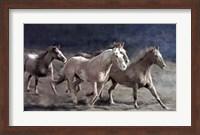 Framed Rustic Running Horse Herd