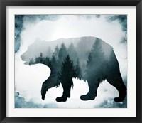 Framed Moody Blue Bear Silhouette
