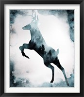 Framed Moody Blue Deer Silhouette