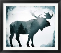 Framed Moody Blue Moose Silhouette