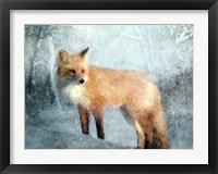 Framed Winter Fox in Falling Snow