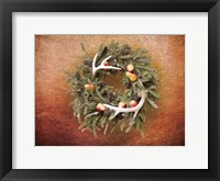 Framed Christmas Wreath with Deer Antlers