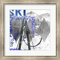 Framed Extreme Skier Word Collage