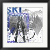 Framed Extreme Skier Word Collage