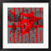 Framed Extreme Snowboarder Word Collage Board