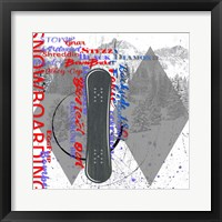 Framed Extreme Snowboarder Word Collage