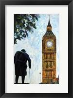 Framed London Big Ben and Sir Winston Churchill