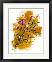 Framed Pink Blossoms On Yellow