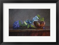 Framed Copper Bowl With Blue Hydrangea