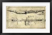 Framed George Washington Bridge Blueprint Industrial Farmhouse