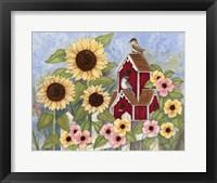 Framed Sunflower Birdhouse