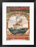 Framed Italian Steamship Travel Ad 1893