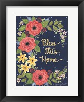 Framed Floral Bless This Home