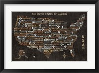Framed US City Map Black