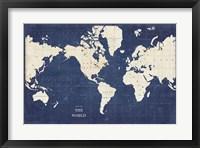 Framed Blueprint World Map - No Border