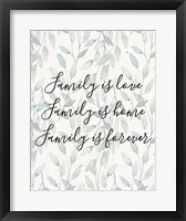 Framed Family Is Love - Leaves