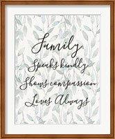 Framed Family Speaks Kindly - Leaves