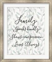 Framed Family Speaks Kindly - Leaves