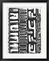 African Textile Woodcut I Framed Print