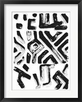 African Textile Woodcut II Framed Print