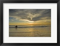 Framed Sunrise On Surfer With Board Walking Through Shore Waves, Cape May NJ