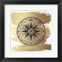 Framed Brushed Gold Compass Rose