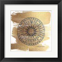Framed Brushed Gold Compass
