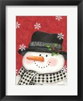 Framed Holly & Black Plaid Snowman