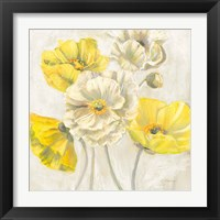 Framed Gold and White Contemporary Poppies Neutral