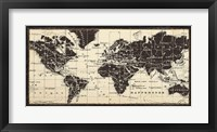 Framed Old World Map Parchment