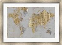 Framed Gilded Map Light Gray